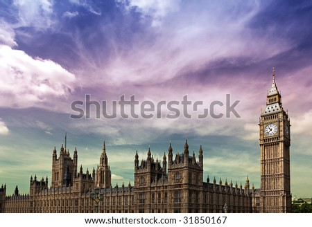 Dramatic stormy sky over Big Ben and the Houses of Parliament. Taken with wide angle lens - stock photo