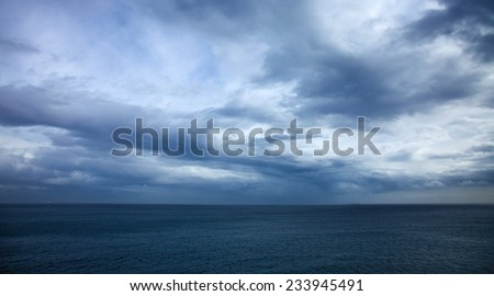 dramatic stormy sky over the ocean - Canary Islands, storm of november 2014 - stock photo