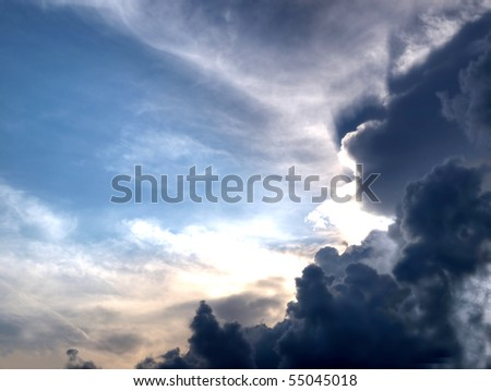 Dramatic summer sky with stormy clouds - stock photo