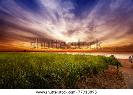 Dramatic Summer sunrise in Maine - stock photo