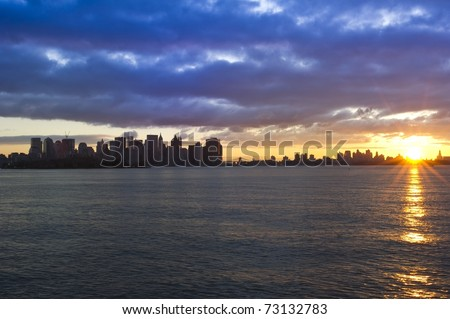 Dramatic sunrise in New York City - stock photo