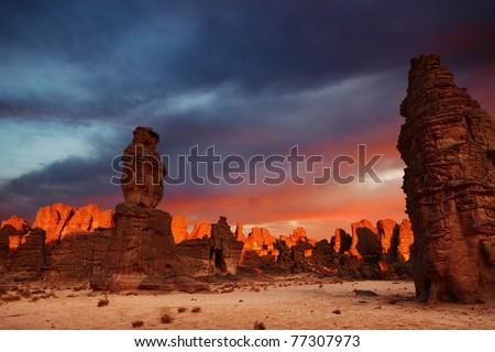 Dramatic sunrise in Sahara Desert, Tassili N'Ajjer, Algeria - stock photo