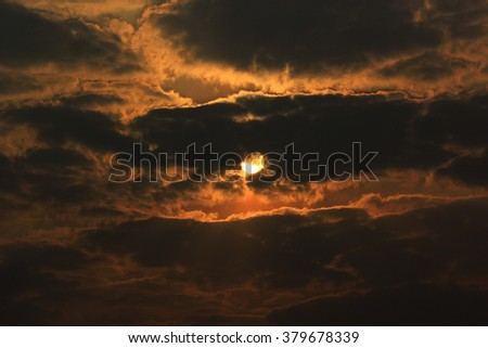 Dramatic Sunrise morning in clouds. - stock photo