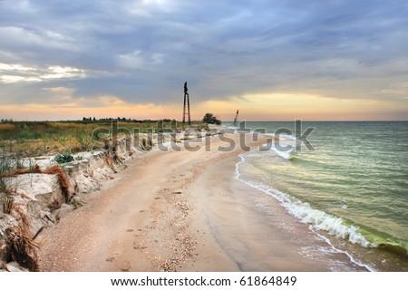 Dramatic sunrise on the Sea of Azov - stock photo