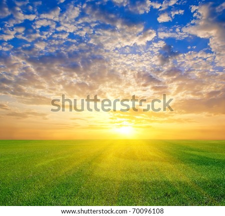 dramatic sunset among fresh green fields - stock photo