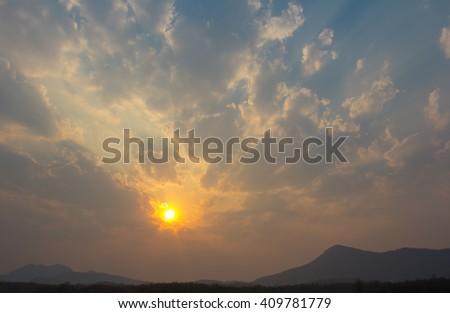 Dramatic sunset and sunrise sky - stock photo