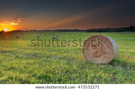 Dramatic sunset at hilly field with rolls of haystacks