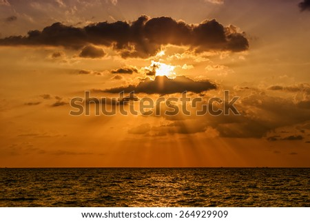 Dramatic Sunset at Naithon Beach, Phuket, Thailand - stock photo