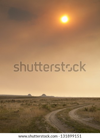 Dramatic sunset at Pawnee National Grassland in Weld County, of northeastern Colorado. - stock photo