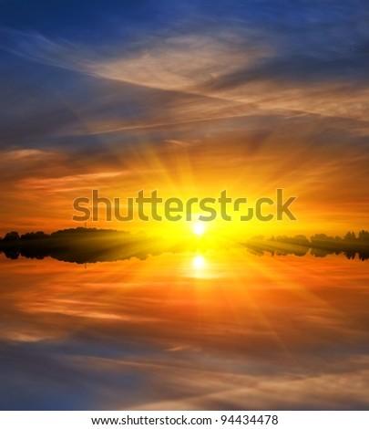 dramatic sunset background - stock photo