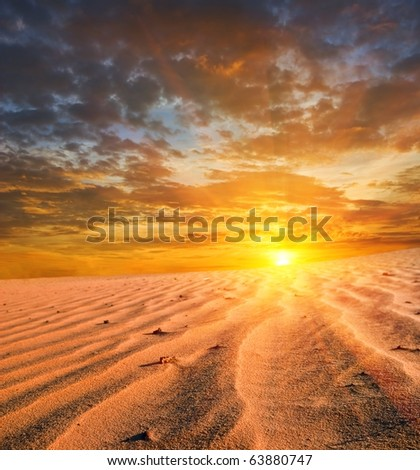 dramatic sunset in a desert