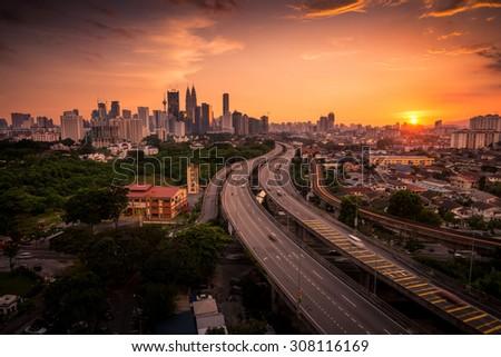 Dramatic Sunset in Kuala Lumpur City, Malaysia - stock photo