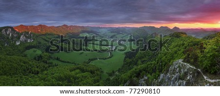 Dramatic sunset in mountain Sulov. - stock photo