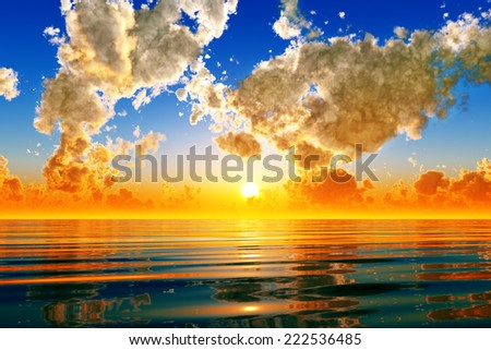 dramatic sunset in puffy clouds over sea - stock photo