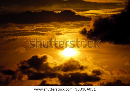 dramatic sunset in sky
