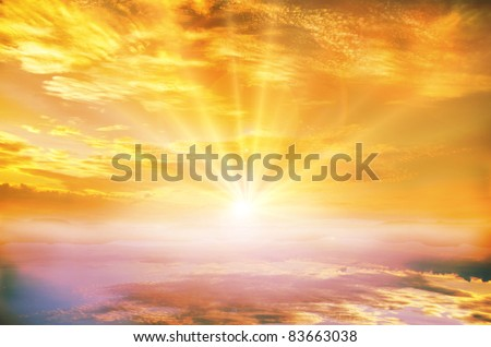 dramatic sunset on a lake - stock photo