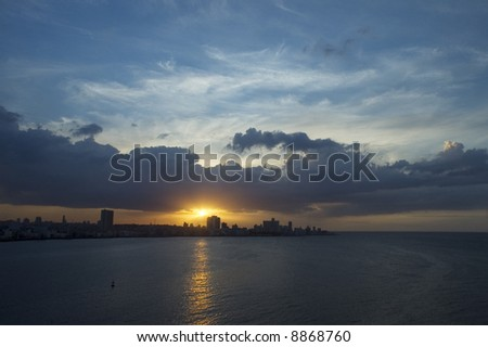 Dramatic sunset on havana bay skyline - stock photo