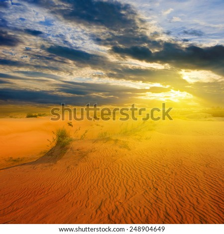 dramatic sunset over a sandy desert - stock photo