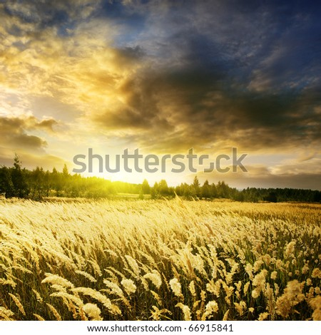 Dramatic sunset over field. - stock photo