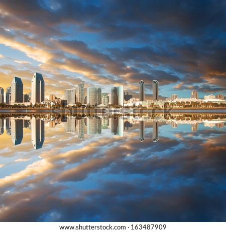 dramatic sunset over San Diego - stock photo