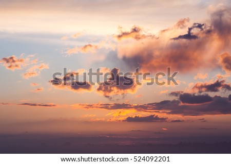 Dramatic sunset over the sea. Sky background texture