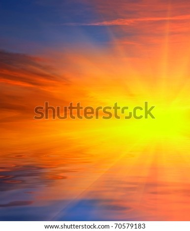 dramatic sunset reflected in a water - stock photo