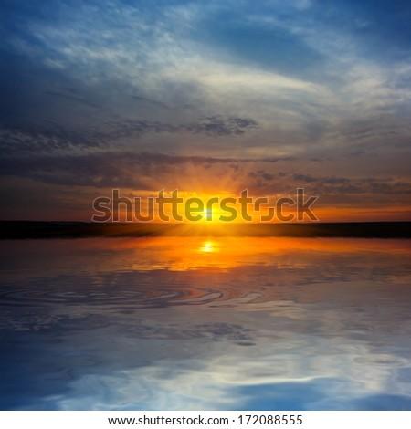 dramatic sunset scene - stock photo