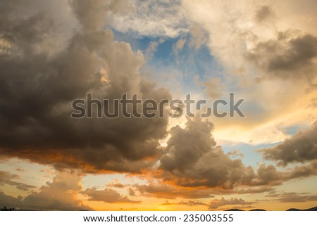 dramatic sunset sky - stock photo