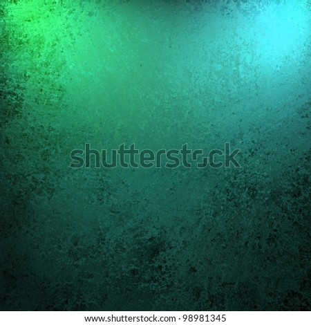 dramatic teal blue green and black color background with old vintage grunge texture and bright spotlight on frame of border for copy space for announcement or invitation design layout - stock photo