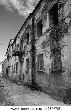 Dramatic View of an old  building in the Piotrkow Trybunalski city, Poland - stock photo