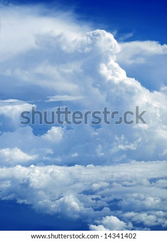 Dramatic view of cloud formations on the borders of a storm depression over the Caribbean seas - stock photo