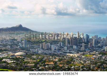 Dramatic view of Honolulu and Diamond Head from a high overlook