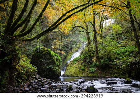 Dramatic View of Stream and Waterfall at Columbia, Columbia Gorge - stock photo