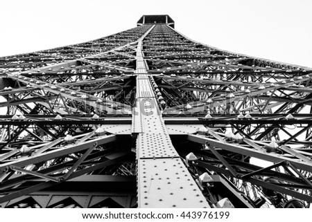 Dramatic view of the Eiffel Tower showing construction detail