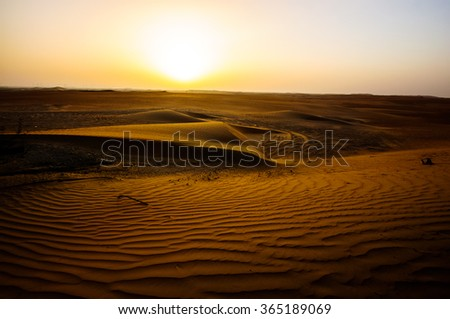Dramatic view of the Liwa Desert in the Western Region of Abu Dhabi Over Sunrise