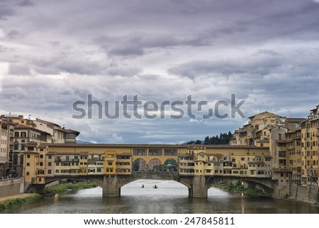 Dramatic view of the Medieval Ponte Vecchio, from the West, Florence, Itraly - stock photo