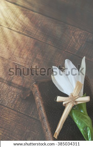 Dramatic Window Sunshine on a White Easter Lily with Cross on an Vintage Leather Bible in lower side of Rustic Wood Board background with room or space for copy, text, your words.  Warm vertical