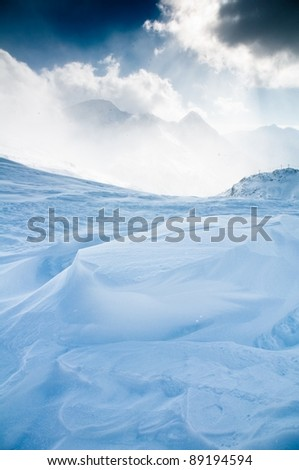 dramatic winter mountains - stock photo