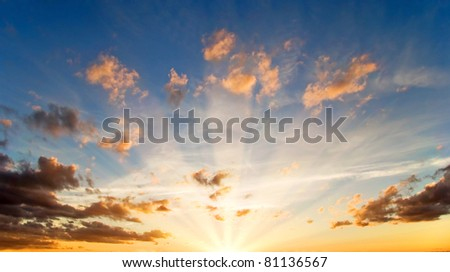 Dramatics sunset sky with clouds for background - stock photo