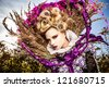 Dramatized image of sensual fashion girl - Art Fashion outdoor photo. - stock photo