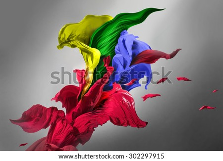 Drapery fabrics of different color - stock photo
