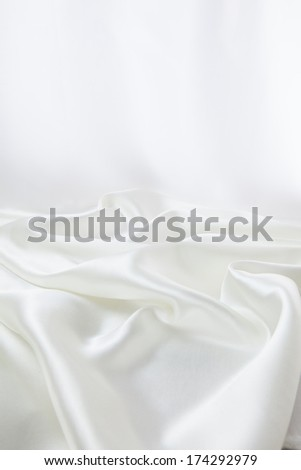 Drapery of white satin for background - stock photo