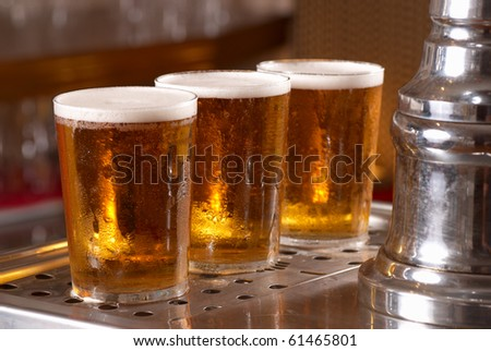 Draught pints - stock photo