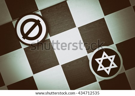 Draughts (Checkers) - judaism vs atheism (empty set) - conflict between believers - jews - and secular nonbelievers (zionism, antisemitism) - stock photo