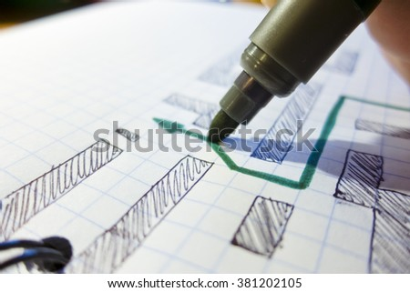 Draw a green marker arrow to find a way out on a paper sheet in a cage - stock photo