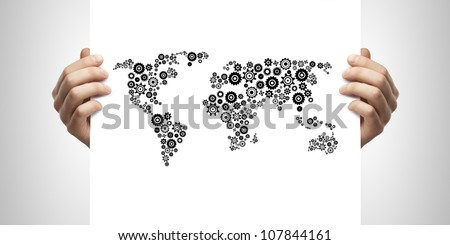 draw abstract world map in hand on a white background - stock photo