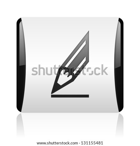draw black and white square web glossy icon - stock photo