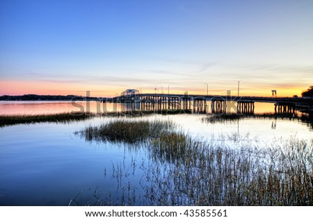 draw bridge in beaufort sc, hdr image - stock photo