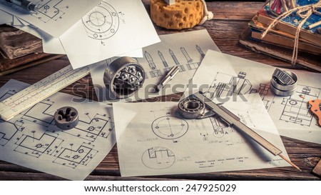 Draw diagrams of mechanical - stock photo