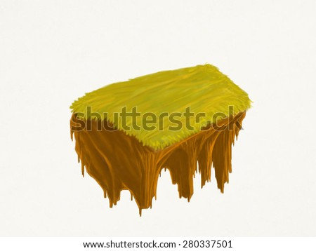 Draw hand Little fine island / planet. A piece of land in the air. Empty lawn. Detailed ground in the base. To use as background for your concept. - stock photo